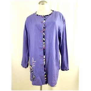 QVC Koos Of Course Size 1X Purple Button Down Top